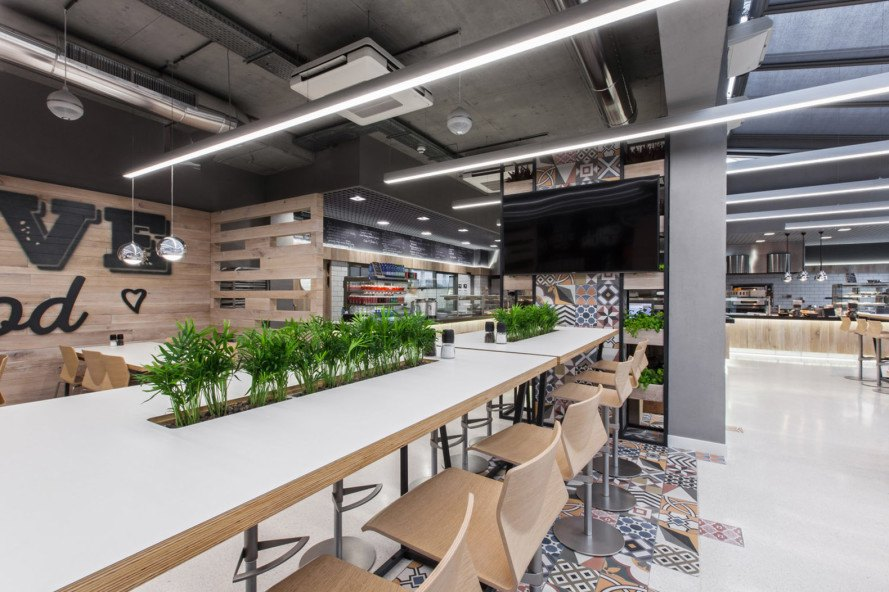 mode:lina architekci, LIDL, supermarket chains, green interior, Poland, wood interior, wooden furniture, natural lighting, restaurant design