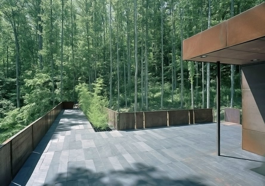 Mountain Tree House, Georgia, Mack Scogin Merrill Elam Architects, mountain retreat, weekend retreat, mountain house, reinforced concrete, timber construction, timber, bamboo, bamboo garden, green architecture, steel facade, steel panels