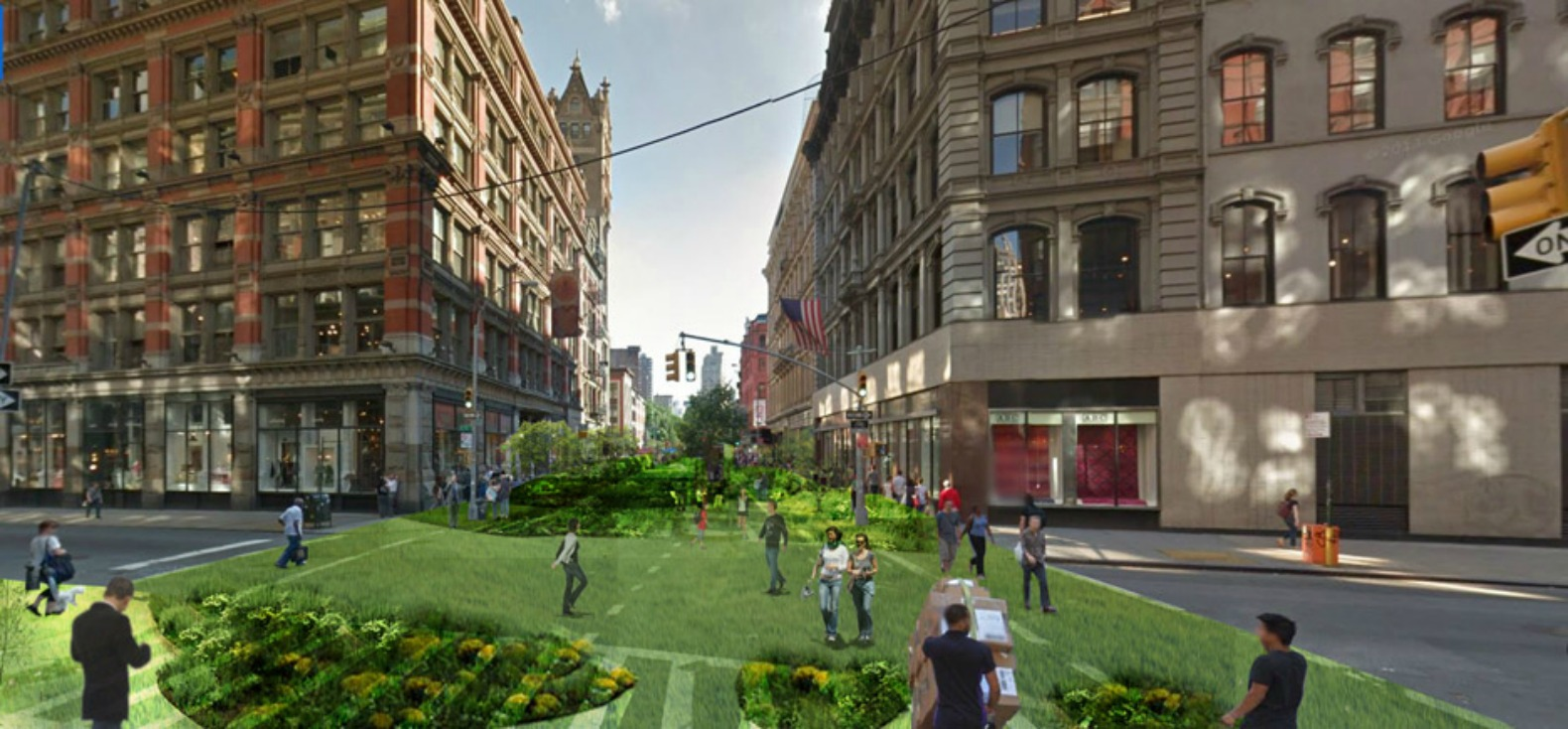 NYC's Broadway envisioned as a massive Green Line park running through the city