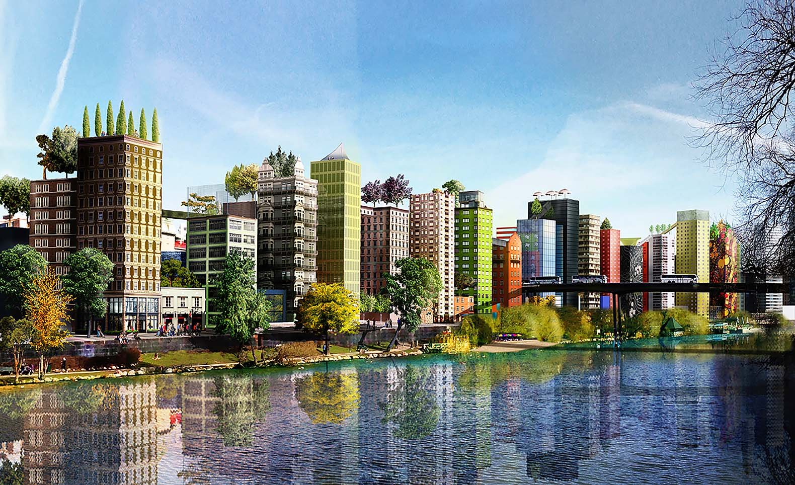 Pioneering new urban design for Stockholm includes a soaring green sky walk park