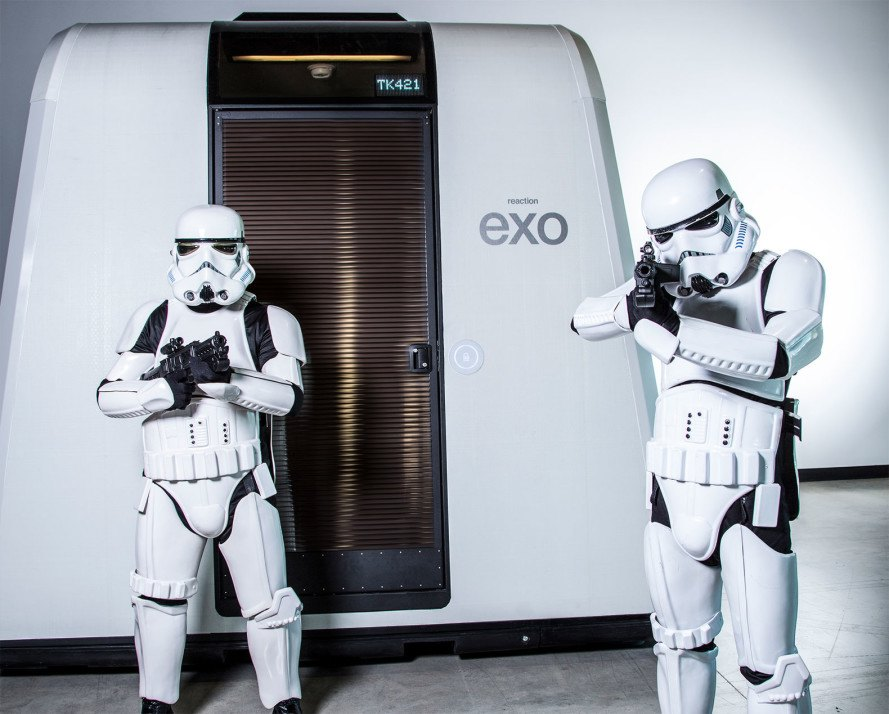 exo, exo shelter, stormtrooper, frog design, Michael McDaniel, disaster housing, prefabricated homes, prefab, prefab homes, prefab shelter, reaction inc, star wars, star wars the force awakens, green design, eco design, sustainable design