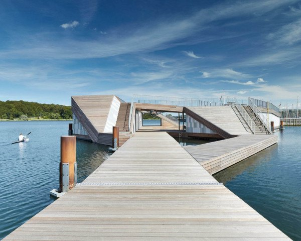 The Floating Kayak Club, FORCE4 Architects, Denmark, sun deck, multi-functional space, wooden architecture, wooden structure, ramps and walkways