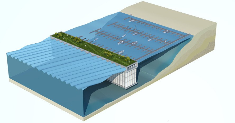 floating sea wall, floating breakwater, waterstudio, koen olthuis, blue energy, The Parthenon sea wall, The Parthenon blue energy sea wall, floating sea wall that harvests energy,