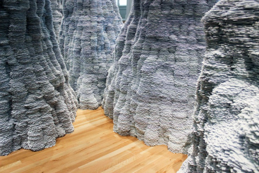 Renwick Gallery, Smithsonian, Smithsonian American Art Museum, Washington D.C., D.C., Tara Donovan, Untitled by Tara Donovan, index cards, art, site specific art, art installation