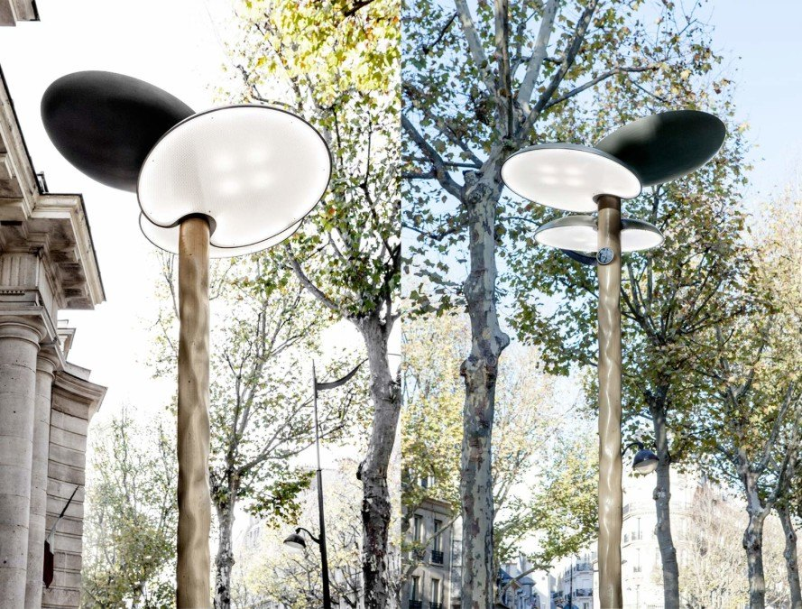 Mathieu Lehanneur, paris, solar streetlamp, streetlamp, wooden furniture, led lamps, LEDs, phone chargers, paris climate talks