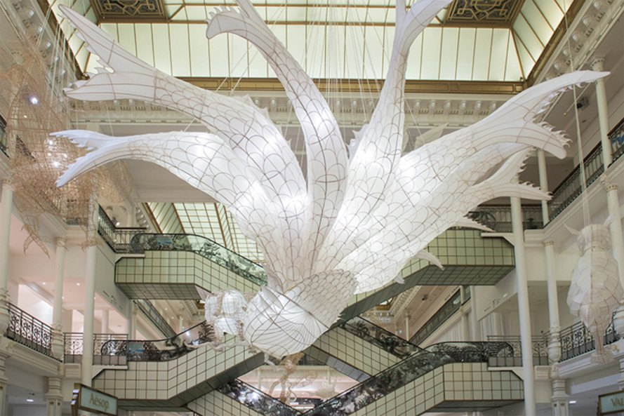Le Bon Marche, Shan Hai Jing, Er Xi, Child's Play, Ai Wei Er Xi, Ai WeiWei, bamboo sculptures, paper sculptures, kite sculptures, bamboo and paper sculptures,