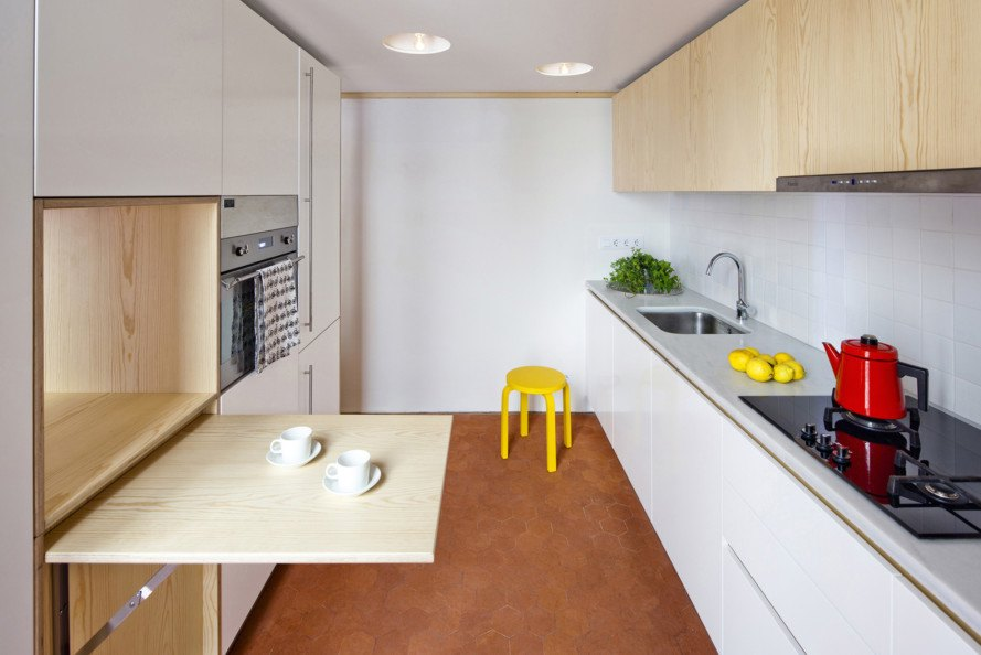 Playful renovation, Barcelona, tiny home, interiors, Anna and Eugeni Bach, home renovation, open plan space, natural light, surprising details,