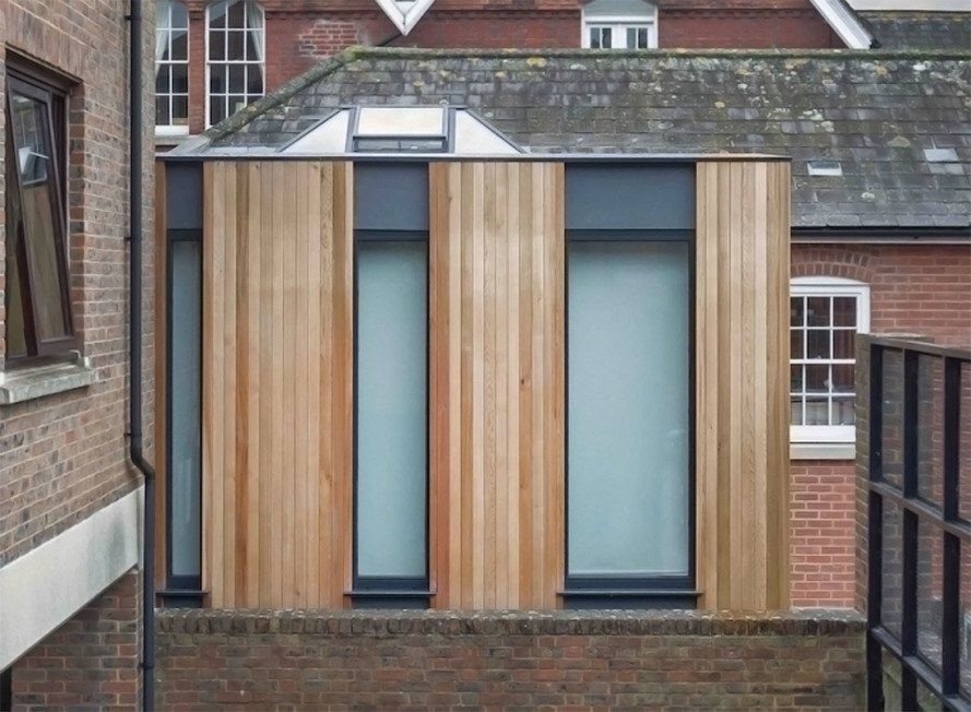 Adam Knibb Architects, Austen House extension, timber cladding, timber architecture, green addition, England, natural light, green architecture