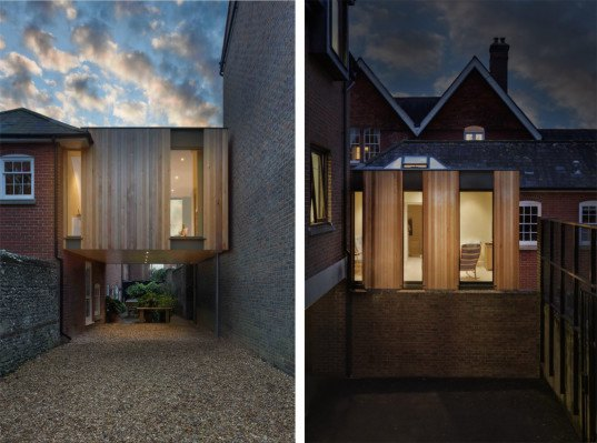 The austen house is a tiny timber clad home suspended between two buildings inhabitat green - Auayen architektur ...