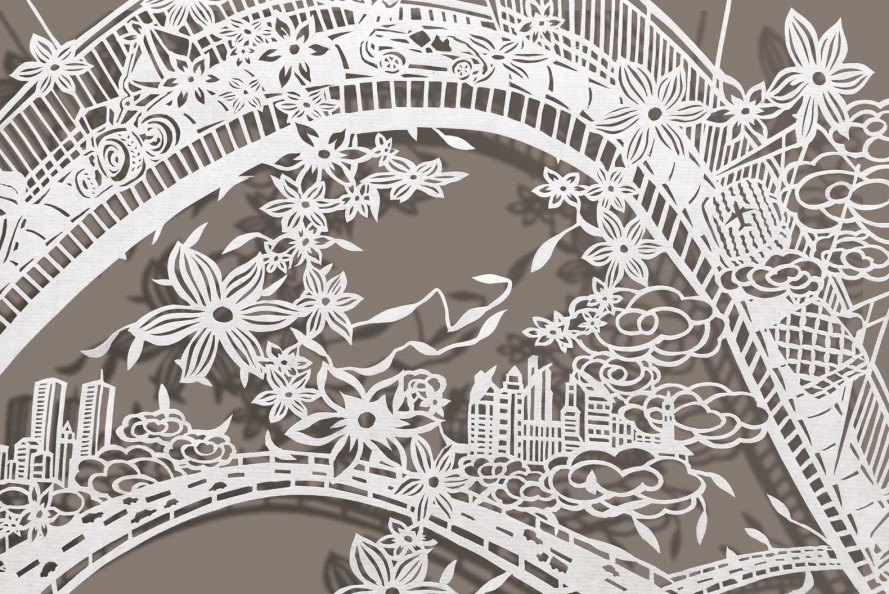 Bovey Lee, intricate paper cuts, Gavlak Gallery, Chinese xuan paper, paper illustrations, Los Angeles landscape