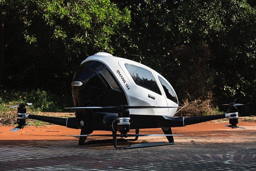 ehang, ehang 184, autonomous helicopter, pilotless helicopter, self-piloting helicopter, passenger drone, drones, chinese drone maker