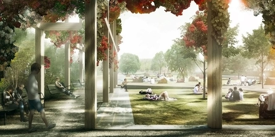 Enghaveparken, Copenhagen, floor-proof design, public spaces, public park, flooding, climate change, global warming, tredje natur, cowi, platant, Denmark