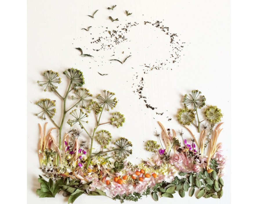 Flora Forager, Bridget Beth Collins, foraged art, nature-inspired art, garden-inspired art, plant art, Bridget Beth Collins art,
