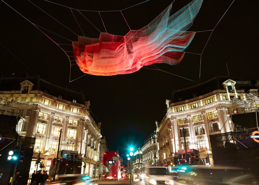 janet echelman, aerial sculptures, light sculptures, 1.8, 2011 japan earthquake, japanese earthquake, tohoku earthquake, tsunami wave heights, computer assisted design, interactive art, lumiere london, london