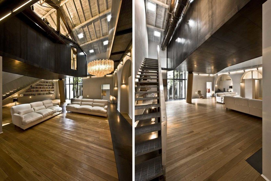 MdAA, old stable, living room tree house, Rome, luxury apartment, Massimo d'Alessandro, recycled stable, natural light, on stilts,