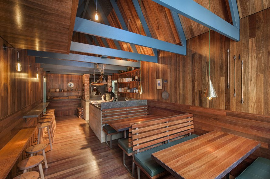 Pink Moon Saloon, Adelaide, Australia, bar and restaurant design, timber building, wooden houses, locally sourced wood, Australian wood, natural light, inner courtyard