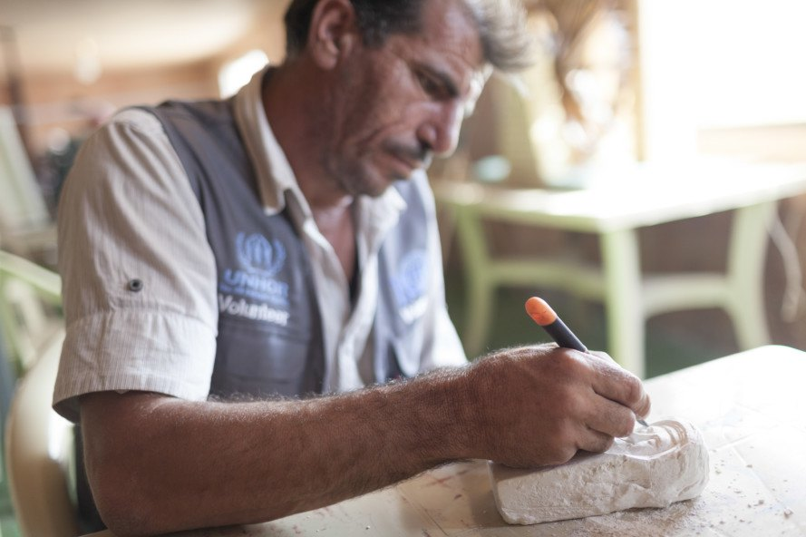 Ismail Hariri, 44, was an interior designer before the conflict began and began sculpting at an early age. After moving to Zaíatari with his wife and seven children in 2013, he was initially reluctant to take it up again, but got involved when he heard about the project. Since rediscovering his passion, he has been asked by IRD to run art classes for 44 children at the community centre.