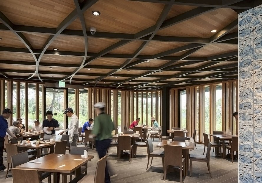 Taekwang Country Club, Taekwang Country Club Café, Mecanoo, golf course, green architecture, canopy, steel roof, natural light