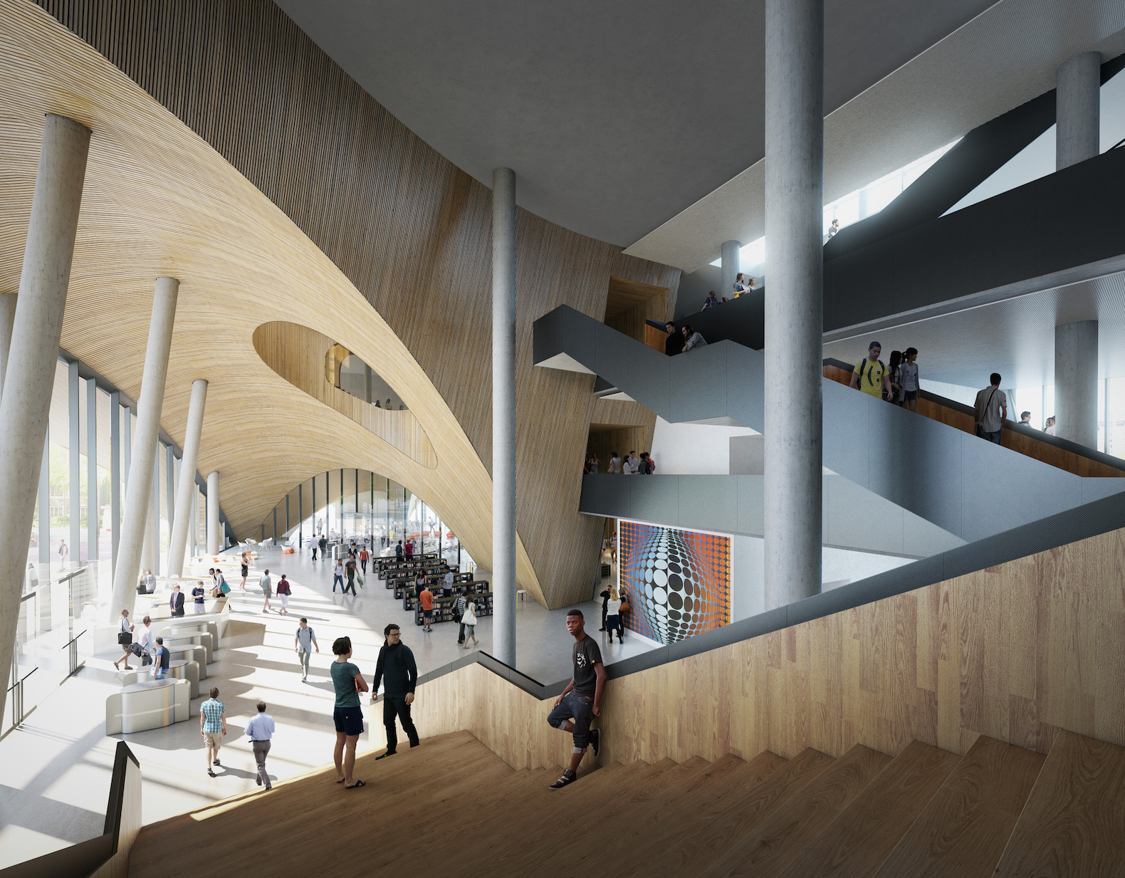 Snhetta Unveils Designs For Temple Universitys Green roofed Library In Philadelphia