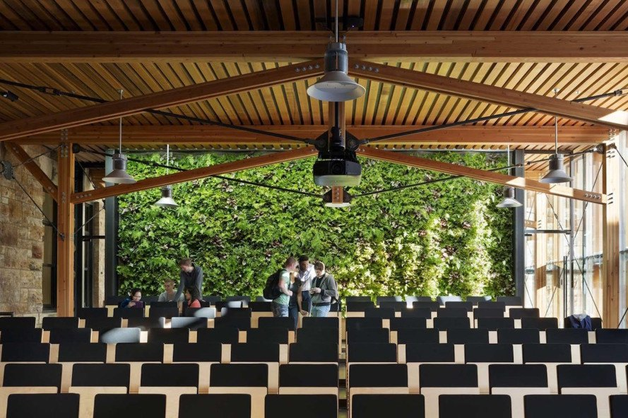 LEED Platinum, Forum, The Forum by Studio 804, Studio 804, LEDs, water reclamation, recycled materials, living wall, University of Kansas School of Architecture, architecture student project, design build, motorized dampers, louvers, sun tracking, rooftop weather station, solar panels, jury room