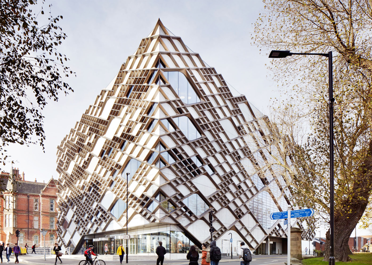 Sheffield's striking Diamond Building is wrapped in a cellular pattern that controls solar gain