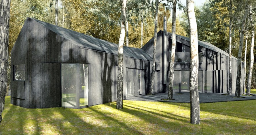 black vincent timber clad houses | All-black house in Poland is clad in sustainably harvested ...