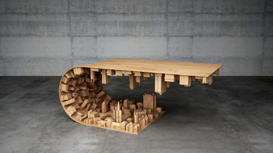 wave city coffee table, coffee table, inception coffee table, inception furniture, inception movie, cityscape table, steles mousarris