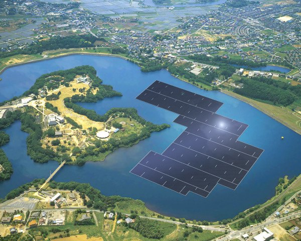 kyocera, solar farm, floating solar farm, floating solar power plant, world's largest floating solar farm, yamakura dam power plant, japan, japan floating solar farm
