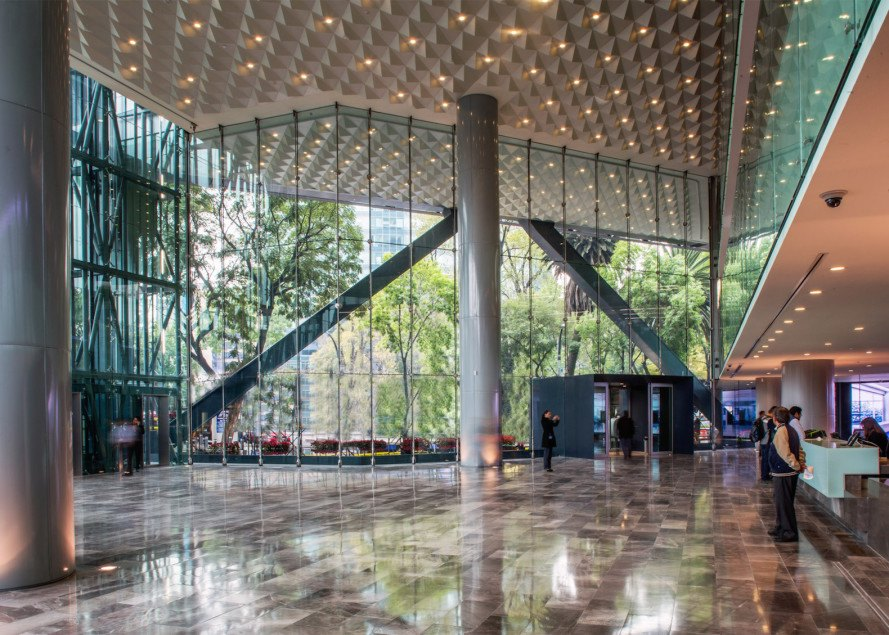 LEED Gold, LEED Gold architecture, BBVA Bancomer, Rogers Stirk Harbour + Partners, Mexico City, passive heating, rainwater recycling, Legorreta + Legorreta, LegoRogers, sky garden