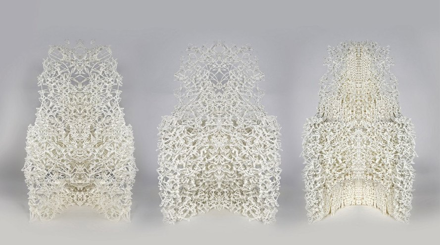 bartlett school of architecture, team curvoxels, spatial curves, 3d-printed chairs, robotic 3d printing, filigree 3d-printed chairs, vernor panton