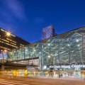 Architects cover hague railway station with trippy diamond for Space 120 architects