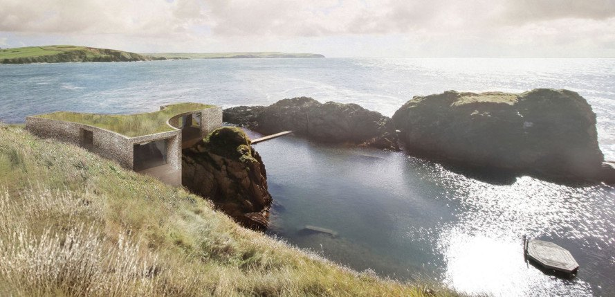 Burgh Island hotel, Green-roofed hotel, Pool House, Burgh Island hotel competition, Carmody Groarke, RIBA competition, saltwater pool, luxury resort, green roof