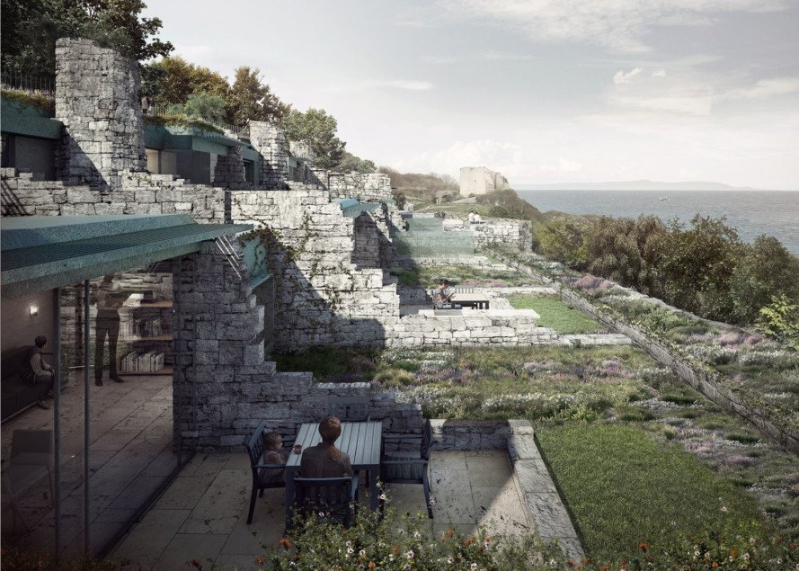 Clifftops Cove Holiday Park, Morrow + Lorraine Architects, UNESCO-protected site, UNESCO, England, green architecture, rustic architecture, Portland stone, open-plan, holiday homes