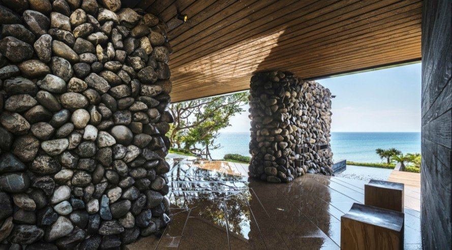 Create + Think Design Studio, Atolan House, rock house, taiwan home, rock home designs, architecture, natural architecture, rock clad homes, green design, sustainable design, minimalist design, invasive design, stonework, home design stonework, living roof