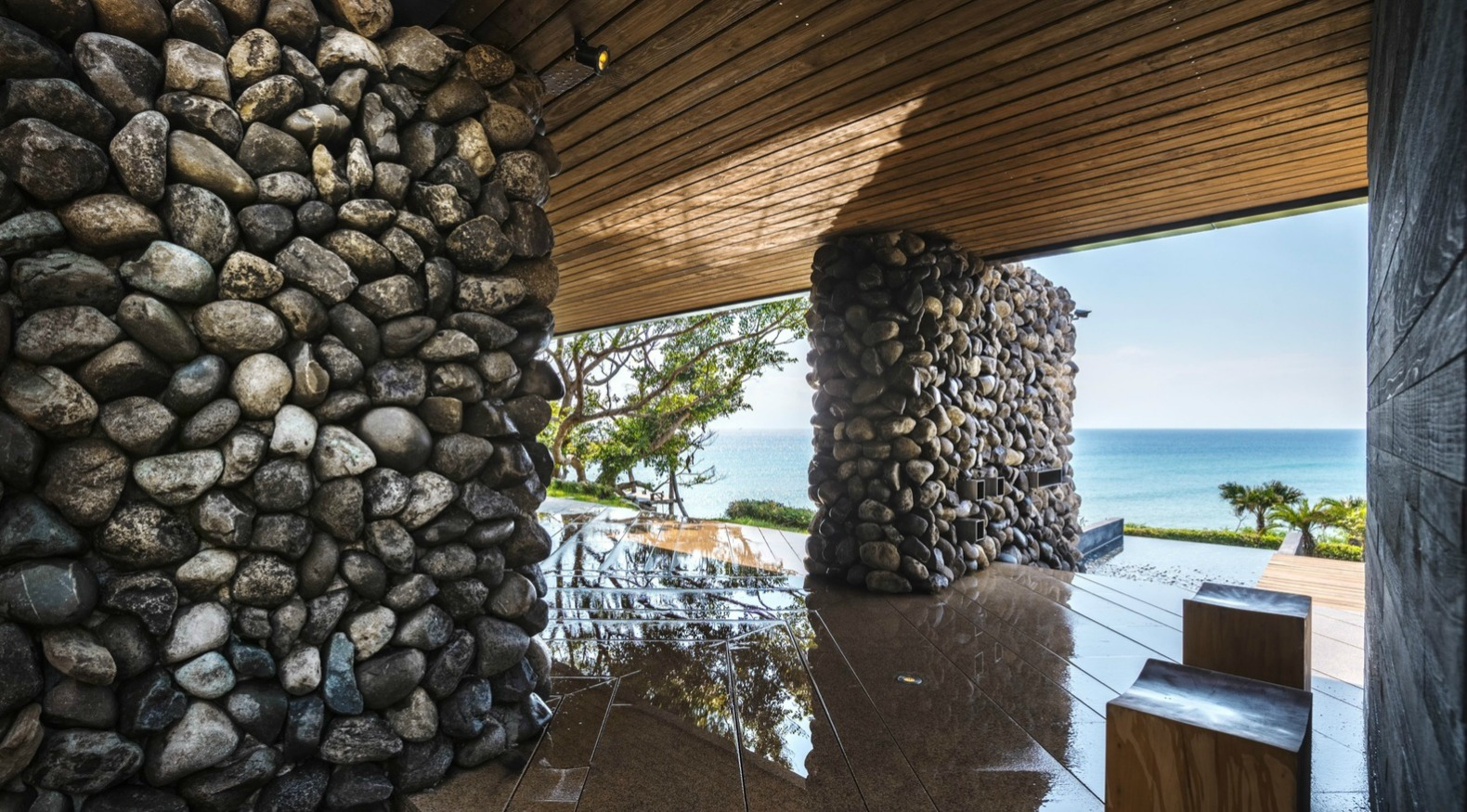 a tolan house is a seafront home built with rocks excavated during its construction inhabitat. Black Bedroom Furniture Sets. Home Design Ideas