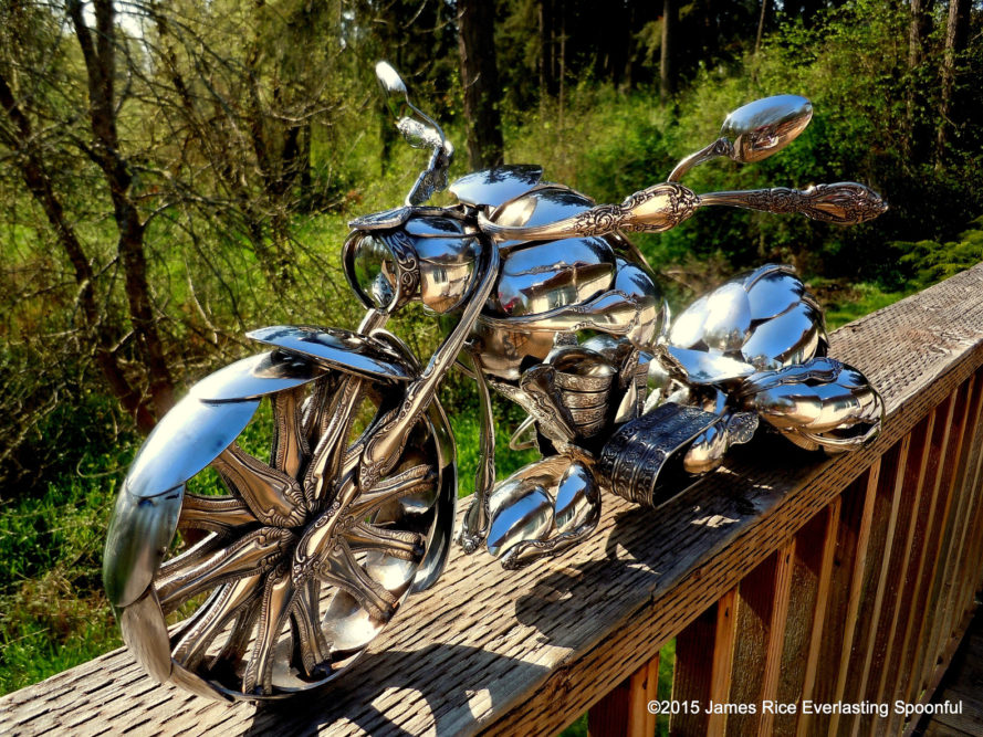 everlasting spoonful, james rice, jim rice, spoon art, motorcycle art, motorcycle spoons, spoon sculptures, sculptures