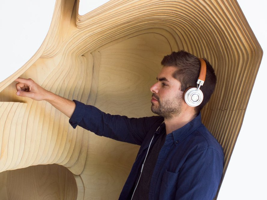 Headspace Meditation Pods, Olyer Wu Collaborative, Headspace, meditation, minimalist design, meditation room, wood and steel structure, interactive pod, interactive design