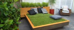 Jason Hodges, Grass Daybed, diy yard tips, how to make a grass bed, how to make a grass daybed, grass daybed from Australia, australian landscape gardener, Better Homes & Gardens, diy grass bed, diy garden furniture, make your own bed, landscape art, yard art, grass daybed made with wood pallets