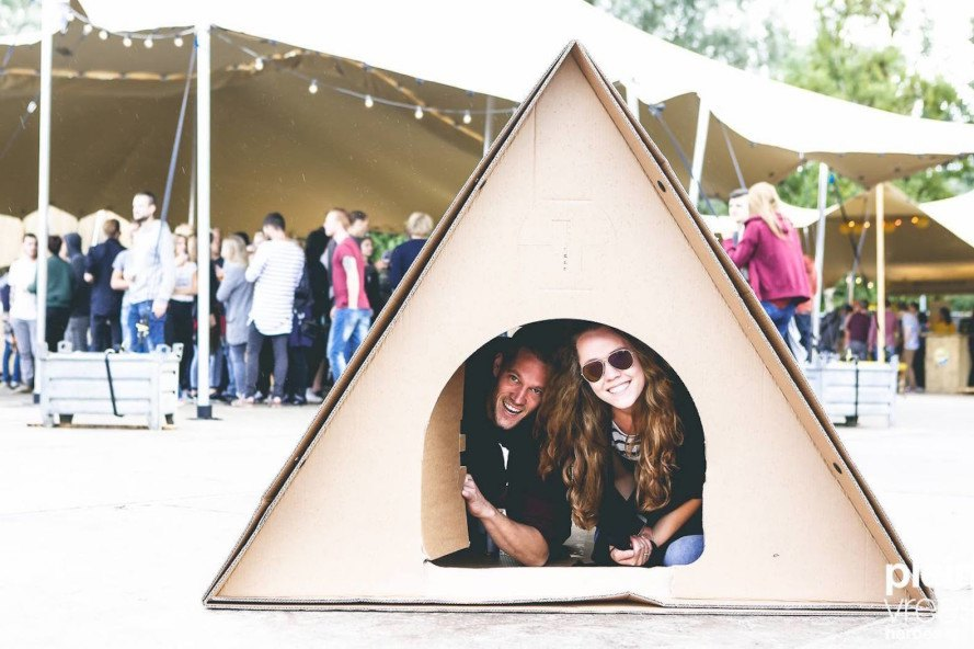 KarTent, cardboard tent, eco-friendly tent, eco-friendly music festival, music festival, music festival tent, camping, tent, recyclable tent,