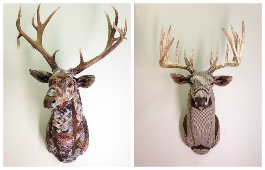 Little Stag Studio, faux taxidermy, cruelty-free trophy animal decor, recycled upholstery fabric, diy house decor, diy fabric projects, home decoration, interior decoration, home art, eco art, diy animal art, interior design,