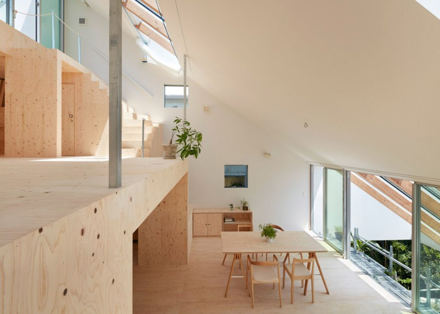 Re-slope House, , Tomohiro Hata Architects, pitched roof, metal roof, plywood interior, green architecture, skylights, clerestory windows, natural light