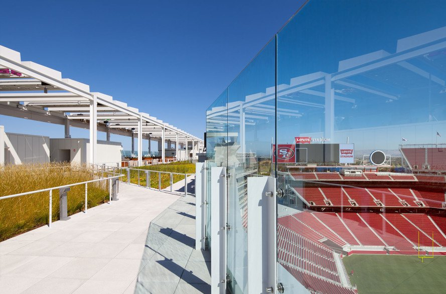 Superbowl, Superbowl 2016, football stadium, Levi's Stadium, green design, sustainable design, solar power, photovolaic, solar panels, water conservation, HNTB Corporation, green superbowl,