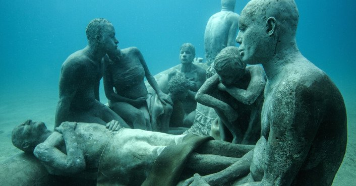 Haunting drowned figures send a chilling message in Europe's