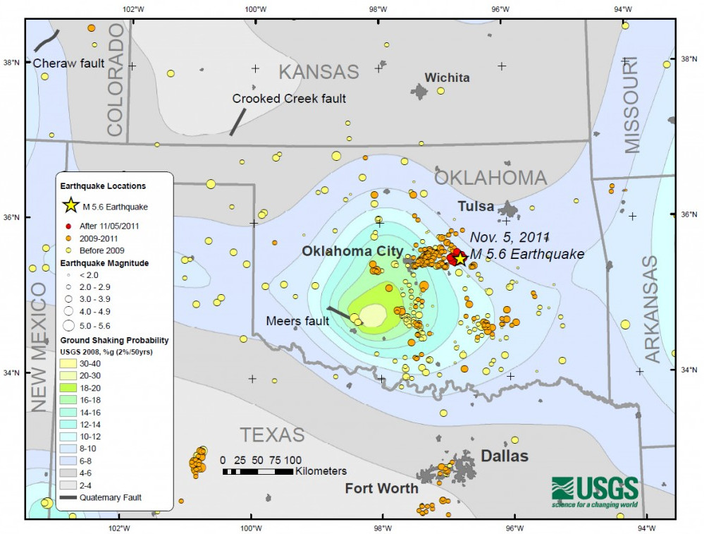 Fracking Suspect In Oklahomas Thirdstrongest Earthquake - Us seismic activity map
