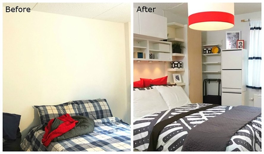 see ikea s smart makeover of this 300 sq ft bronx studio. Black Bedroom Furniture Sets. Home Design Ideas