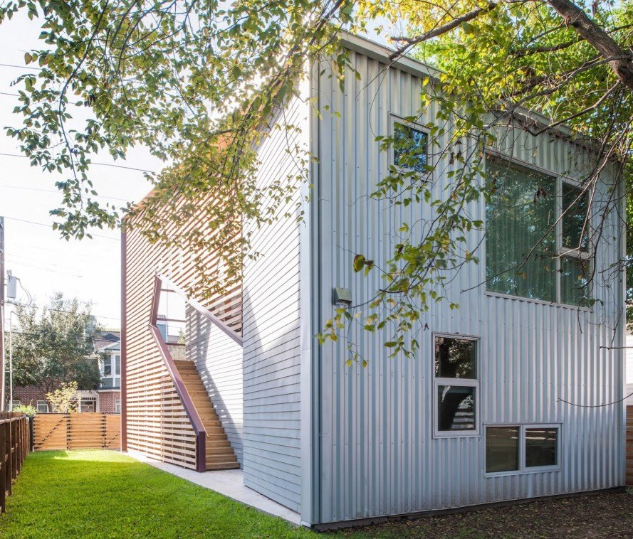Shotgun Chameleon, ZDES architects, shotgun housing, shotgun house, Houston, energy efficient architecture, flexible architecture, solar heat gain, flexible facade,