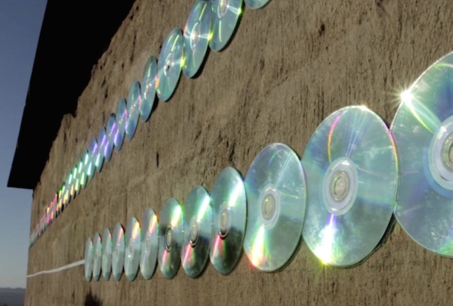 r1, recycled CDs, Sound of Light by r1, Randfontein, site specific art, temporary art, art installation, Randfontein art, CD art installation, recycled materials,