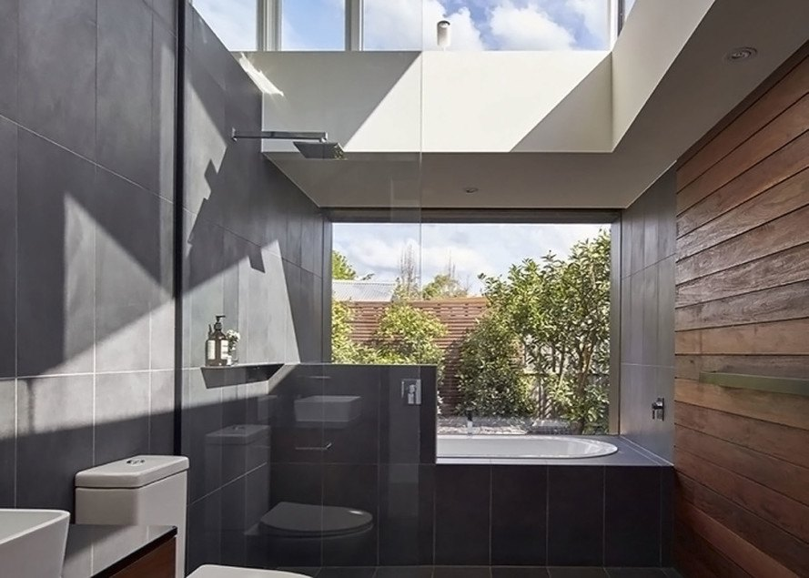 MO-DO architects, Tunnel House, Australia, renovated cottage, green renovation, courtyard, pavilion, courtyard house, butterfly roof, salvaged brick, salvaged building materials, light-filled, green architecture