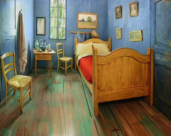 Van Gogh, Vincent van Gogh, The Bedroom, Van Gogh's Bedrooms, Art Institute of Chicago, Van Gogh Airbnb rental, life-size replica of van Gogh's The Bedroom, Post-Impressionist painter, Vincent van Gogh The Bedroom