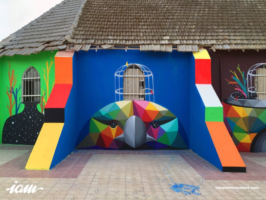 okuda san miguel, 11 mirages to the freedom, street art caravane, street art, moroccan mural, church mural, mural, kaos temple